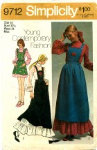 Simplicity 9712 Vintage Sewing Pattern Womens Dress & Bib Jumper Size 10 Bust 32 1/2