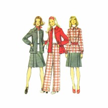 1970s Misses Shirt-Jacket Skirt Pants Simplicity 5455 Vintage Sewing Pattern Size 12 Bust 34