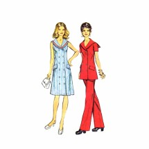 1970s Misses Dress Tunic Pants Simplicity 5566 Vintage Sewing Pattern Size 12 Bust 34