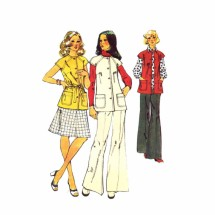 1970s Misses Vest Skirt Pants Simplicity 5800 Vintage Sewing Pattern Size 12 Bust 34