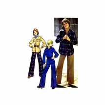 1970s Misses Shirt-Jacket and Pants Simplicity 5854 Vintage Sewing Pattern Size 14 Bust 36