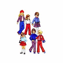 1970s Girls Shirt-Jacket Short Skirt Pants Simplicity 5875 Vintage Sewing Pattern Size 5