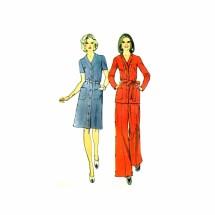 1970s Misses Dress Top Pants Simplicity 6151 Vintage Sewing Pattern Size 18 Bust 40
