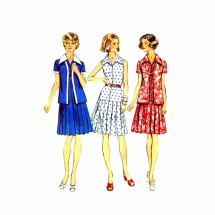 1970s Pleated Skirt Dress Jacket Simplicity 6156 Vintage Sewing Pattern Full Figure Half Size 18 1/2 Bust 41
