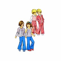 1970s Childs Cardigan Jacket Top Pants Simplicity 6185 Vintage Sewing Pattern Size 4