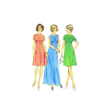 1970s Dress with Front Seam Interest Look Slimmer Simplicity 6274 Vintage Sewing Pattern Size 12 Bust 34
