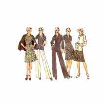 1970s Jacket Dress Pants Simplicity 6514 Vintage Sewing Pattern Size 12 Bust 34