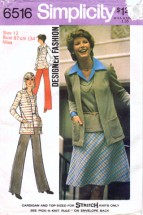 Simplicity 6516 Vintage Sewing Pattern Womens Cardigan Top Pants Skirt Size 12 Bust 34