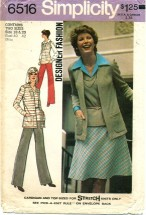 Simplicity 6516 Vintage Sewing Pattern Womens Cardigan Top Pants Skirt Size 18 - 20