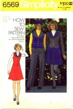Simplicity 6569 Jacket Vest Mini Skirt Pants Size 12 - Bust 34