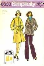 1970's Simplicity 6633 Sewing Pattern Front Wrap Coat Size 12 - Bust 34