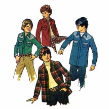 1970s Boys Unlined Shirt-Jacket Simplicity 6641 Vintage Sewing Pattern Size 7