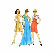 1970s Princess Seam Dress Bolero Jacket Simplicity 6761 Vintage Sewing Pattern Size 10 Bust 32 1/2
