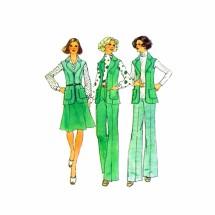 1970s Misses Unlined Vest Skirt Pants Simplicity 6811 Vintage Sewing Pattern Size 12 Bust 34