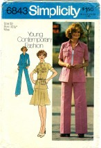 Simplicity 6843 Shirt-Jacket Skirt Pants Size 12