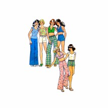 1970s Girls Pants Shorts Pullover Top Halter Top Simplicity 6952 Vintage Sewing Pattern Size 7