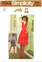 Simplicity 7043 Short Skirt Jumper Detachable Bib Size 12 - 14 - Bust 34 - 36
