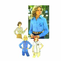 1970s Misses Blouses Western Simplicity 7078 Sewing Pattern Size 10 Bust 32 1/2