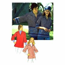 1970s Misses Pullover Shirt Simplicity 7121 Vintage Sewing Pattern Size 12 Bust 34