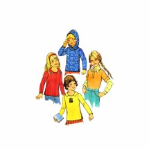 1970s Girls Hooded Top Simplicity 7157 Vintage Sewing Pattern Size 5
