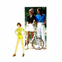 1970s Womens Shirt Pants Shorts Simplicity 7333 Vintage Sewing Pattern Size 8 Bust 31 1/2