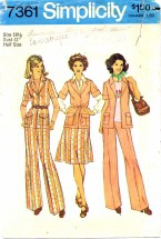 Simplicity 7361 Front-Wrap Jacket Skirt Pants Size 18 1/2 - Bust 41