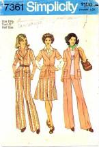 Simplicity 7361 Front-Wrap Jacket Skirt Pants Size 18 1/2 - Bust 41