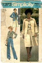 Simplicity 7373 Designer Fashion Misses Shirt-Jacket Shirt Skirt Pants Size 16