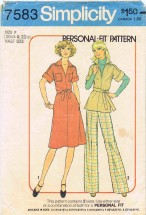 1970's Simplicity 7583 Sewing Pattern Dress Top Pants Half Size 20 1/2 - Bust 43