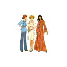 1970s Misses Pullover Caftan Dress Top Simplicity 7588 Vintage Sewing Pattern Size 8 - 10