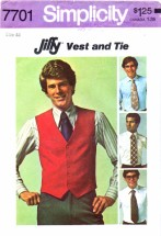 Simplicity 7701 Vintage Sewing Pattern Mens Vest and Tie Chest 44