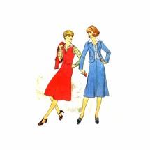 1970s Misses Shirt Vest Skirt Jacket Simplicity 7839 Vintage Sewing Pattern Size 12 Bust 34