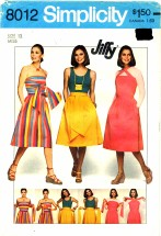 1970's Simplicity 8012 Sewing Pattern Muti-Wrap Dress Size 12 - Bust 34
