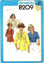 Simplicity 8209 Misses Front Tucked Blouses & Pullover Tops Size 12