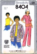 Simplicity 8404 Vintage Sewing Pattern Womens Jacket Top Pants Size 10 Bust 32 1/2