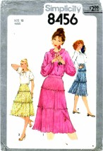 Simplicity 8456 Vintage Sewing Pattern Womens Top Pleated Skirt Size 10 Bust 32 1/2