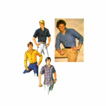1970s Mens Casual Shirt Simplicity 8944 Vintage Sewing Pattern Chest 38