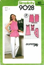 Simplicity 9028 Retro Dress Tunic Pants Size 6 - 8 - Bust 30 1/2 - 31 1/2