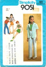 Simplicity 9051 Shirt Bias Halter Pants Shorts Size 7