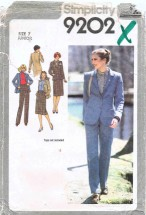 Juniors Skirt Pants Jacket Suit Size 7 Simplicity 9202 Sewing Pattern
