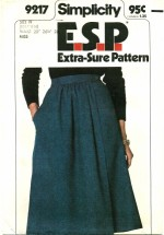 Simplicity 9217 E.S.P. Front-Wrap Skirt Size 10 - 14 - Waist 25 - 28