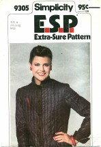 Simplicity 9305 E.S.P. Quilted Jacket Size 6 - 10 - Bust 30 1/2 - 32 1/2
