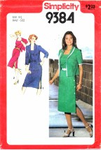 Simplicity 9384 Side Button Dress & Jacket Size 18 1/2 - Bust 41