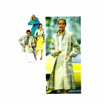 1980s Coat Jacket Dress Skirt Blouse Tie Simplicity 9482 Vintage Sewing Pattern