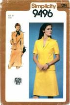 Simplicity 9496 Unlined Suit Size 10 - Bust 32 1/2