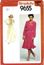 Simplicity 9655 Sewing Pattern Misses Deep Plunging Cascade Ruffle Neckline Evening Dress Size 14 - Bust 36