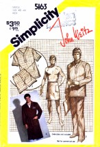 Simplicity 5163 Vintage Sewing Pattern John Weitz Mens Pajamas Front Wrap Robe Wrap-Around Chest 42 - 44