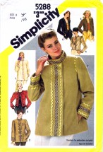 Simplicity 5288 Sewing Pattern Misses Jackets Embroidery Oriental Style Size 8