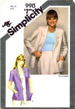 Simplicity 9913 Misses Unlined Jacket Vintage Sewing Pattern Size 14 Bust 36