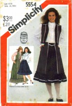 Simplicity 5554 Sewing Pattern Gunne Sax Skirt Blouse Quilted Vest Size 11 / 12